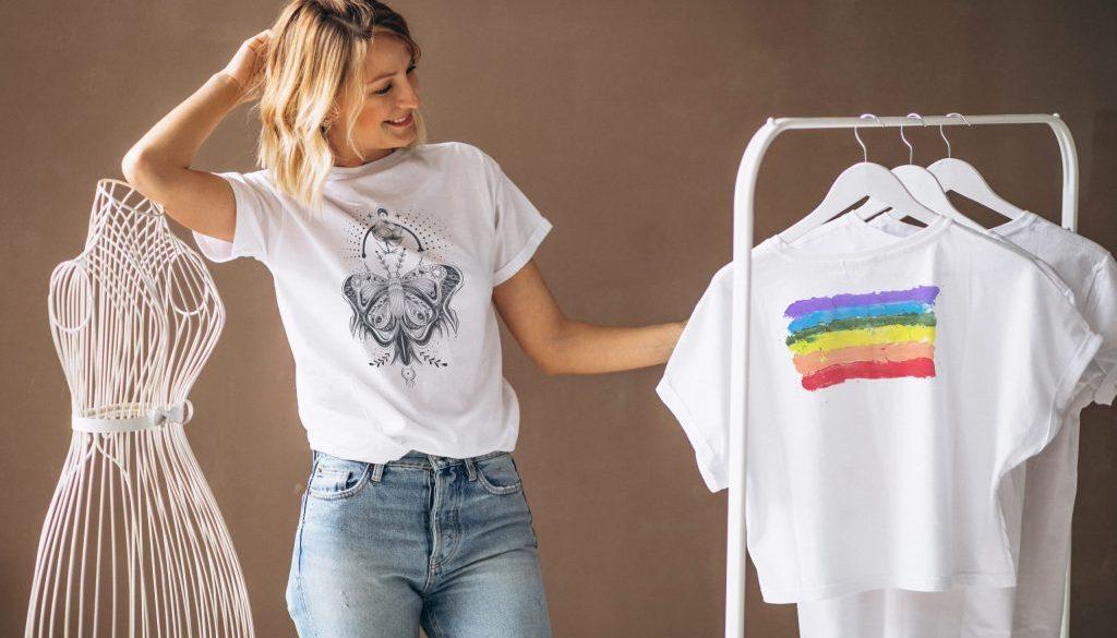 Woman chosing a white shirt