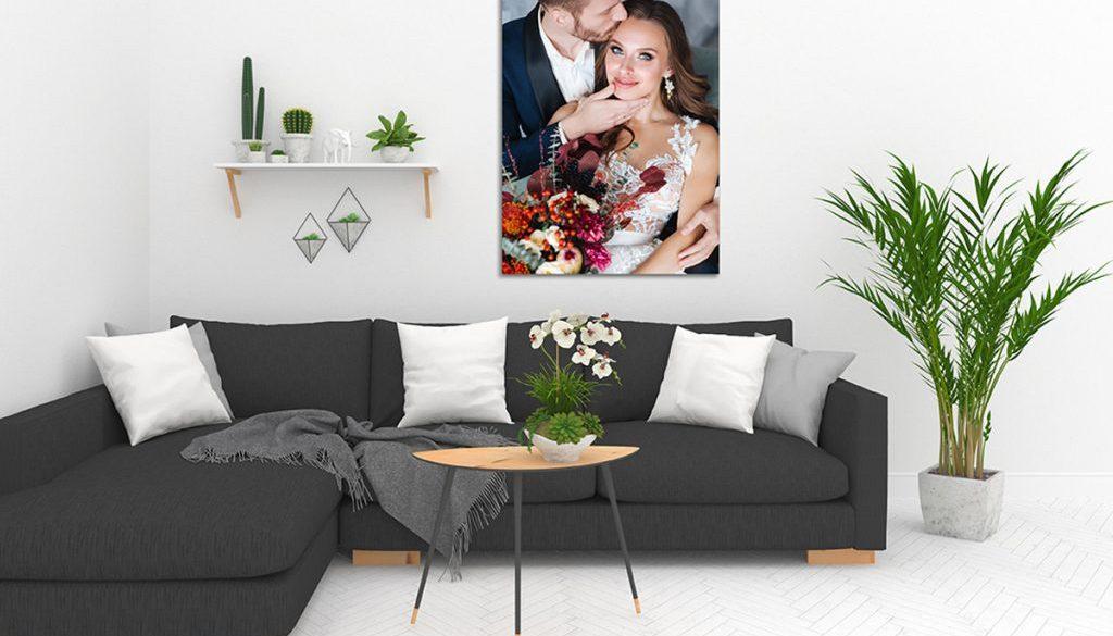 Scandinavian living room with vertical frame