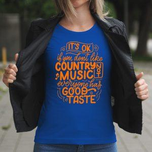 Dámske tričko s potlačou Country no music
