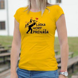 Dámske tričko s potlačou Láska hory prenáša