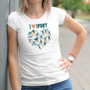 Dámske tričko s potlačou I love sport