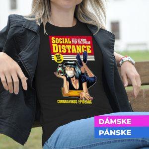 Tričko s potlačou Social distance